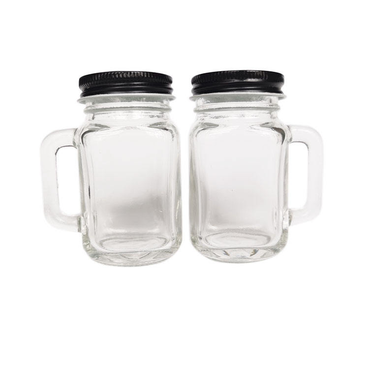 Small 2oz mason jars 50ml mug shot glass handle with lid for candy honey