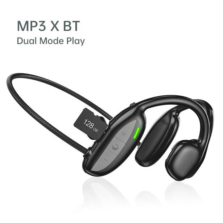 Headphone MP3 Bawaan, Headphone Olahraga Bluetooth Nirkabel, Earphone MP3 Player, Headphone MP3 Bawaan, Mode Ganda Baru, dengan Slot Kartu