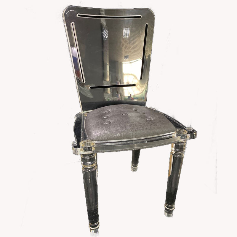 custom durable clear acrylic home furniture dinning chair with cushion plexiglass table chair