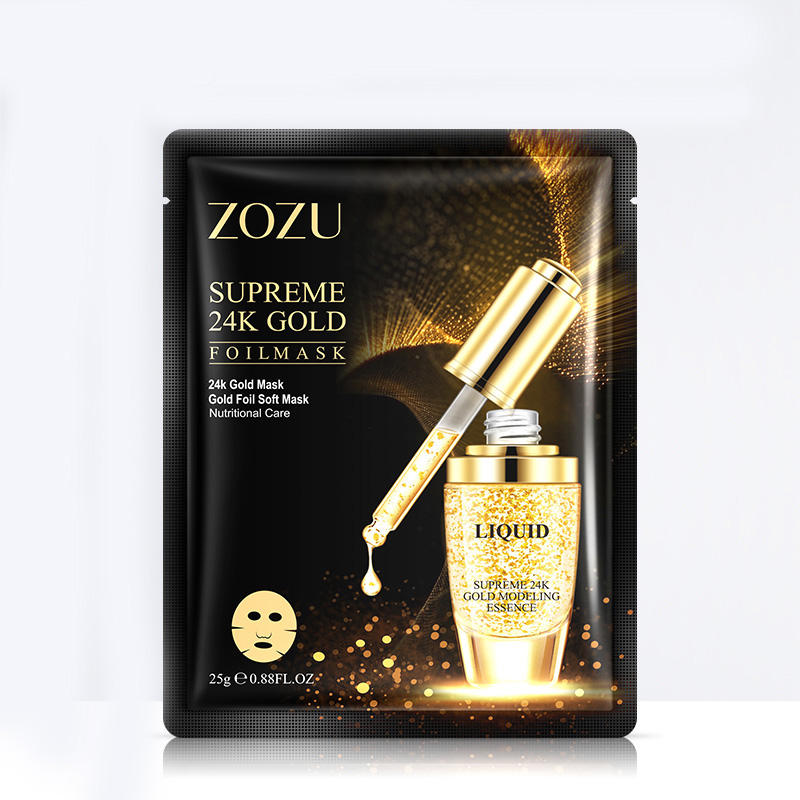 ZOZU Private label new product face beauty Moisturizing anti-aging 24k Gold facial mask sheet