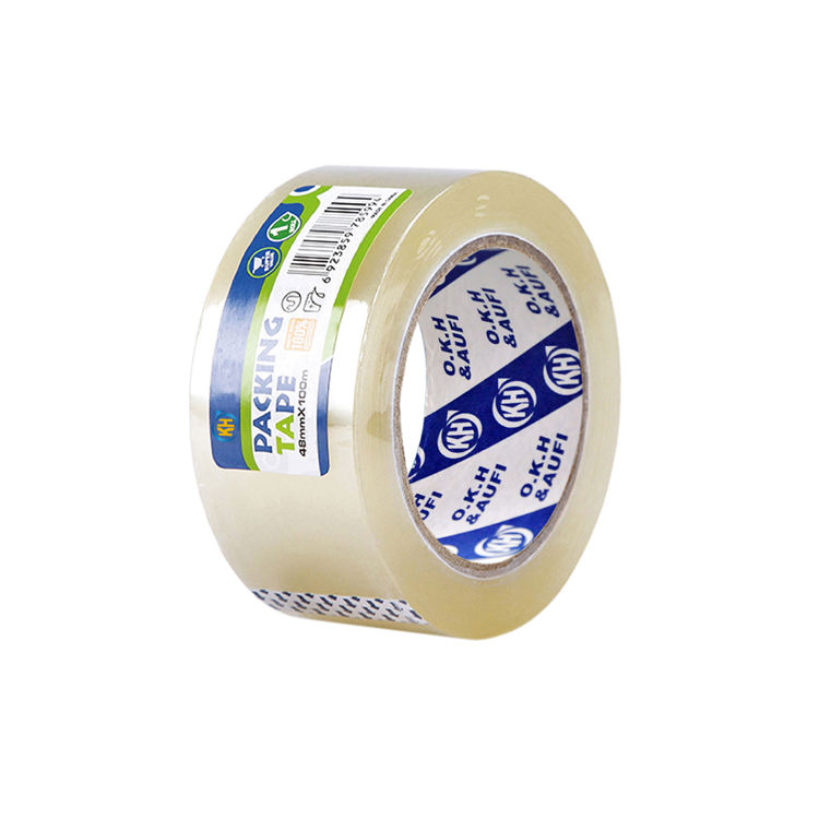 carton packing clear bopp packaging tape with label in single shrink
