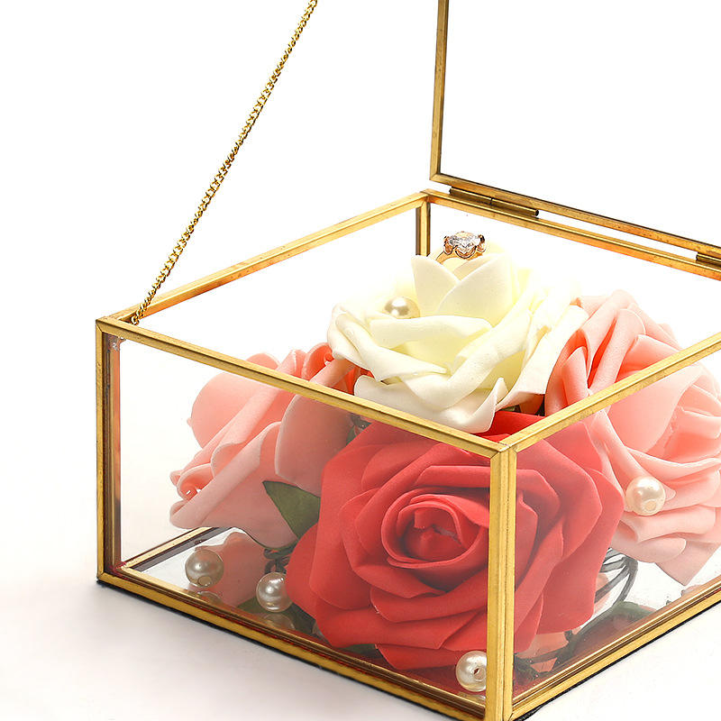 Custom Wedding Rose Geometric Metal Gold Glass Box Jewelry, Jewelry Glass Storage Box