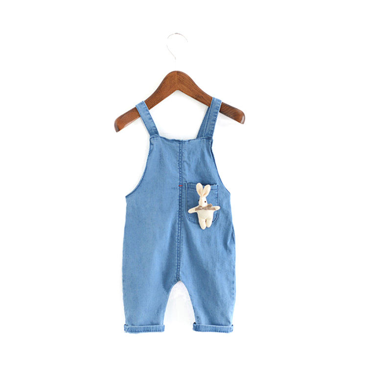 Best Selling Unisex Toddler Overalls Blue Summer Cotton Baby Suspenders Pant