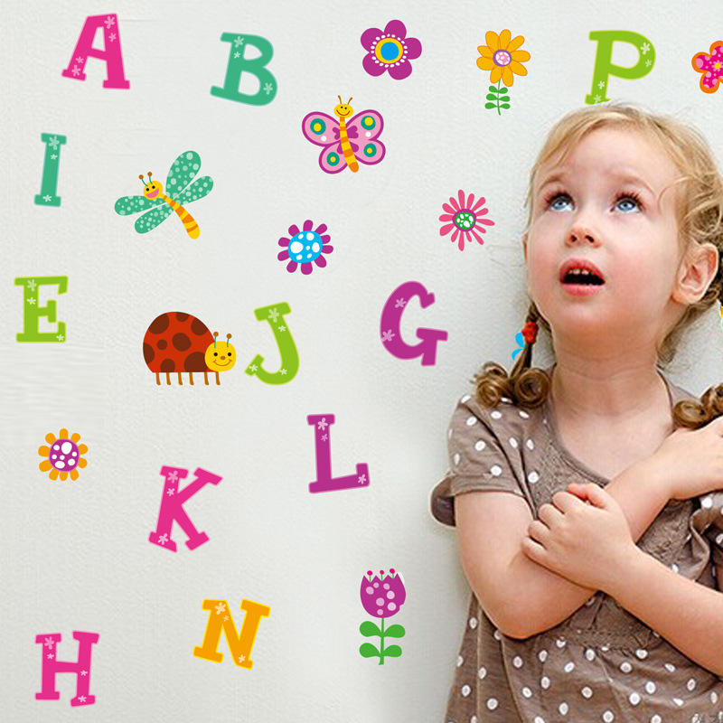 New DIY cartoon 26 letters Alphabet animals wall stickers for kids rooms home decor children wall decal poster mural