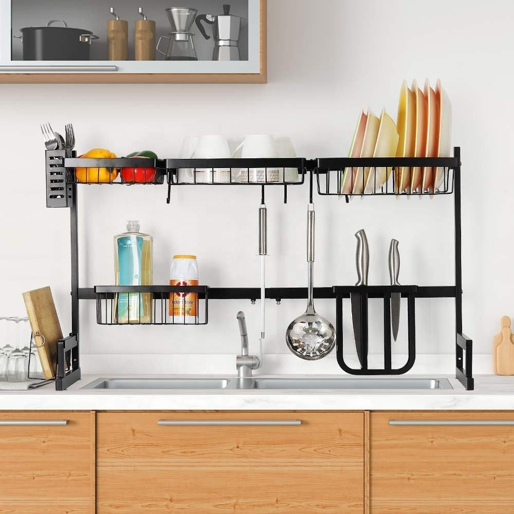 Amazon hot selling stainless steel dish draining rack over sink organizer with utensil holder hooks for kitchen counter storage