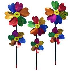 Double Layer Colorful Six Leaf Petal Large Windmill 58CM PVC Environmentally Friendly Outdoor Garden Lawn Windmill Kids Toy