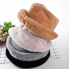 Women Winter Warm  Flat Top Cap Plush Bucket Fur Hats