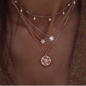 New ladies full diamond star and moon gold multilayer necklace set