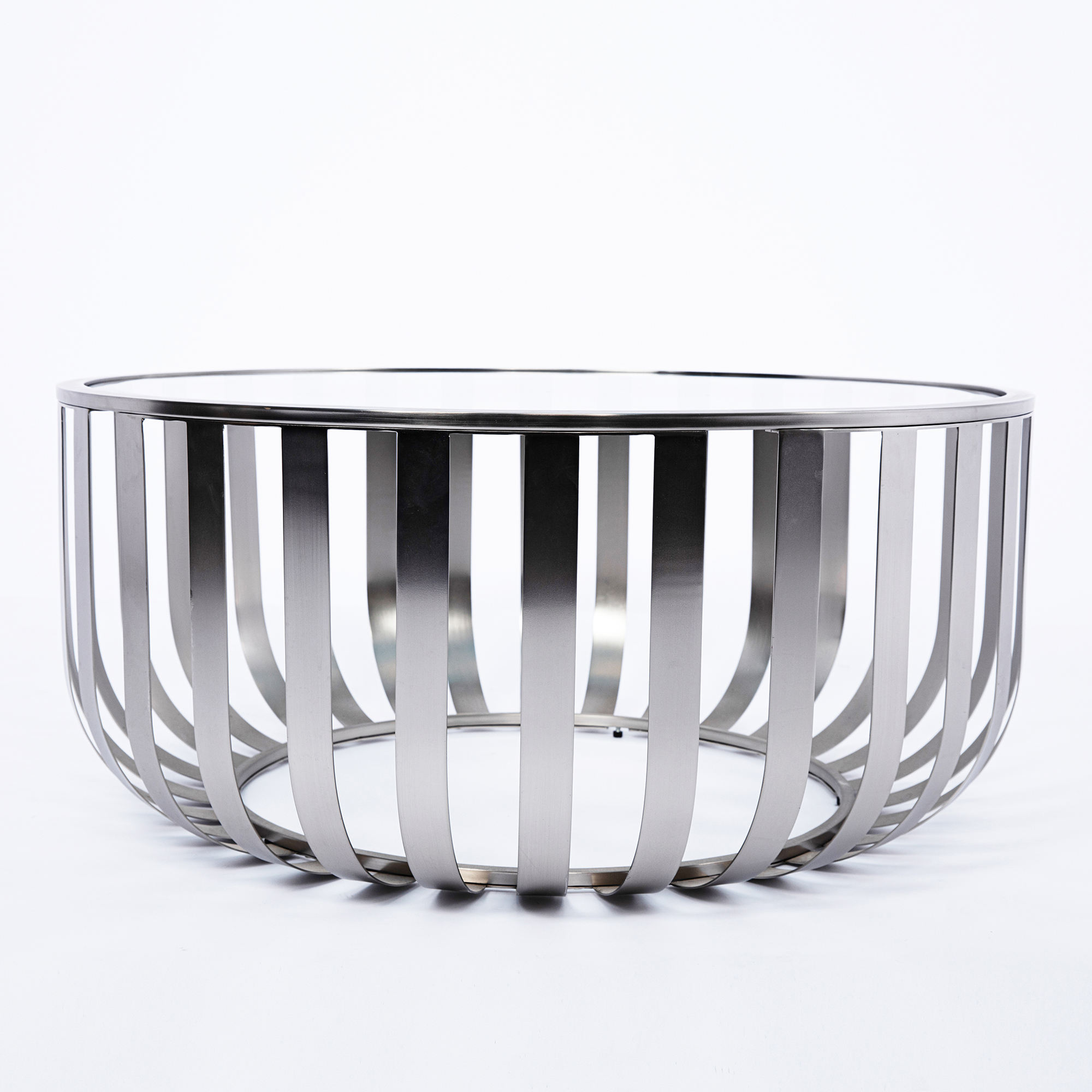 Modern Design 2 Piece Clear Tempered Glass Top Round Centre Coffee Table Set Stainless Steel Metal Furniture