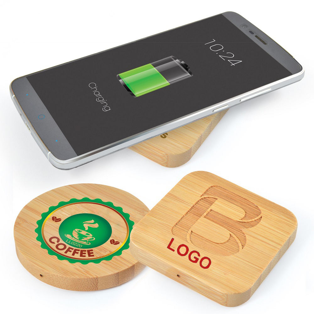 New Technology Bamboo Ultra Slim Fast Charge 5W Eco friendly Biodegradable Charging Creative Custom Oem Wireless Charger Pad