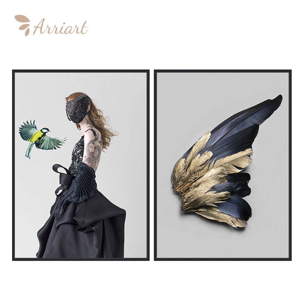Modern Art Painting Decorative Girls Feather Wings Art Poster Wall Custom Canvas Print Painting Supplier
