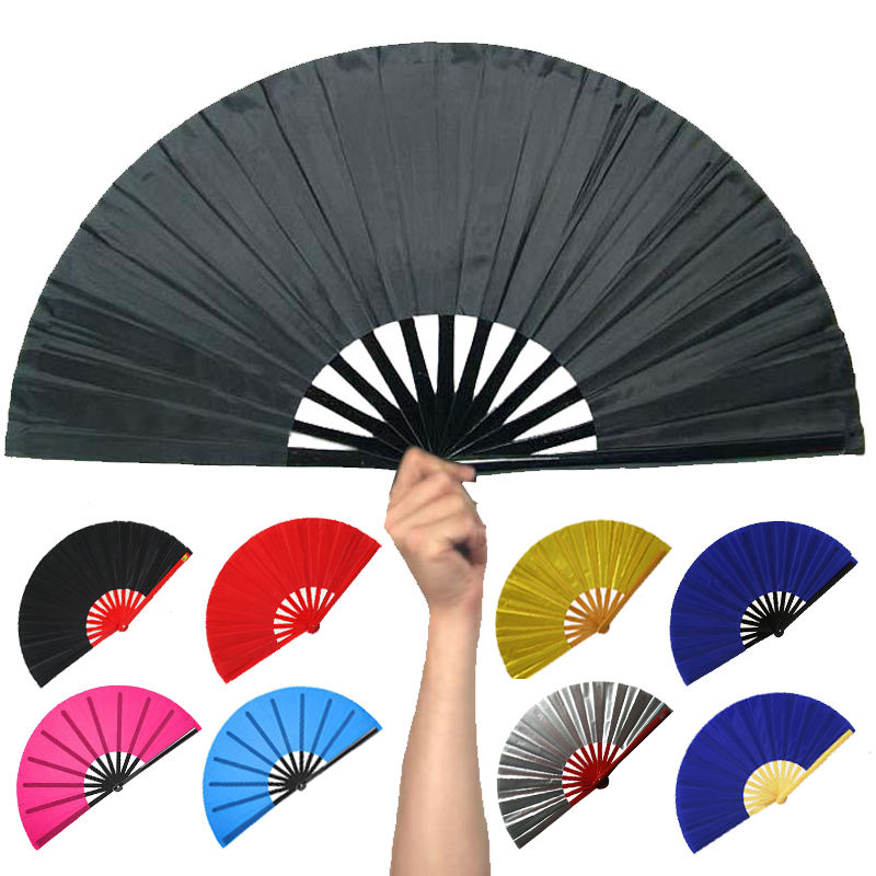[I AM YOUR FANS]Factory Price bamboo handle plastic handle Folding Plain Fabric kungfu Fan