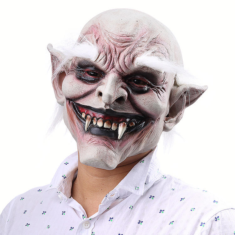 Halloween Party Latex Head Mens Mask with White eyebrow Scary Masks Halloween Mask