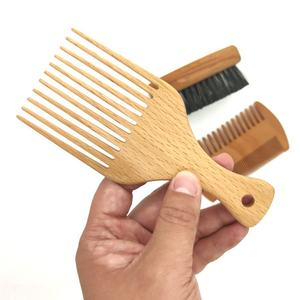 Wholesale Custom Wooden Hair Afro Pick Comb For Men