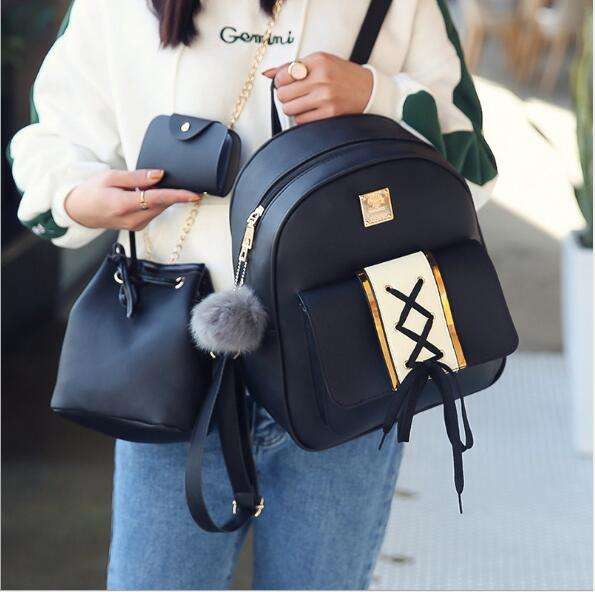 Women's backpack south Korean fashion pu leather small backpack women's bag new multi-functional travel bag