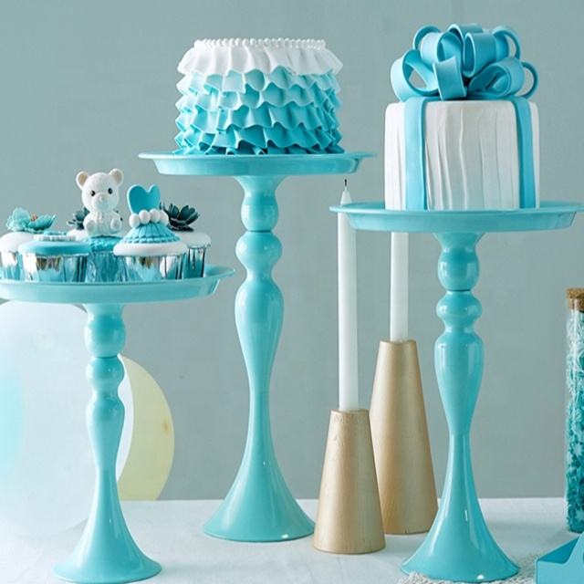 Blue cake stand high foot metal iron cake tools for dessert table decoration wedding party suppliers sweet baking love