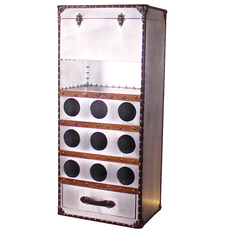 Craft Rivets Vintage Leather metal storage Wine Storage Cabinet