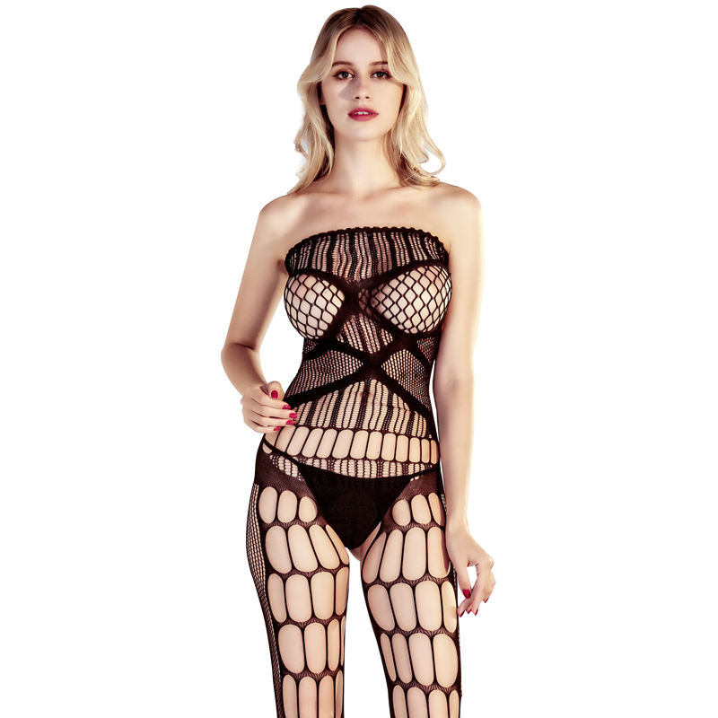 WIDE NET CROTCHLESS BODYSTOCKING BLACK One Size