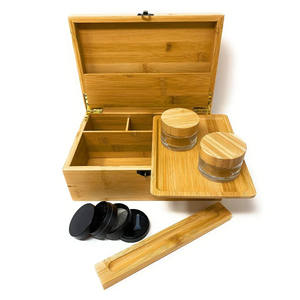 Grote Stash Box Set 100% Bamboe Geur Proof 2 Rolling Trays 2 Luchtdichte Flessen Plus Grinder Houten Stash Box