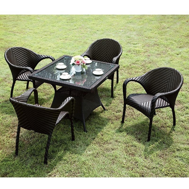 Silla de mesa de jardín Mesas Para jardín al aire libre <span class=keywords><strong>Ratan</strong></span> sillas de Patio de aluminio Mesa Tavoli da Giardino