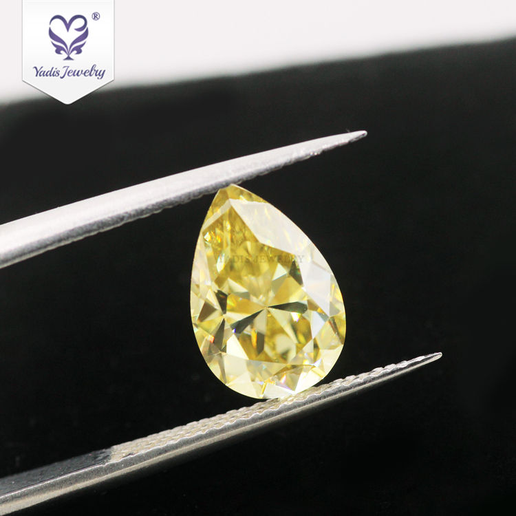 Normal Pear Cut Dark Yellow 1ct Weight Moissanite Diamond For Women Jewelry Customization