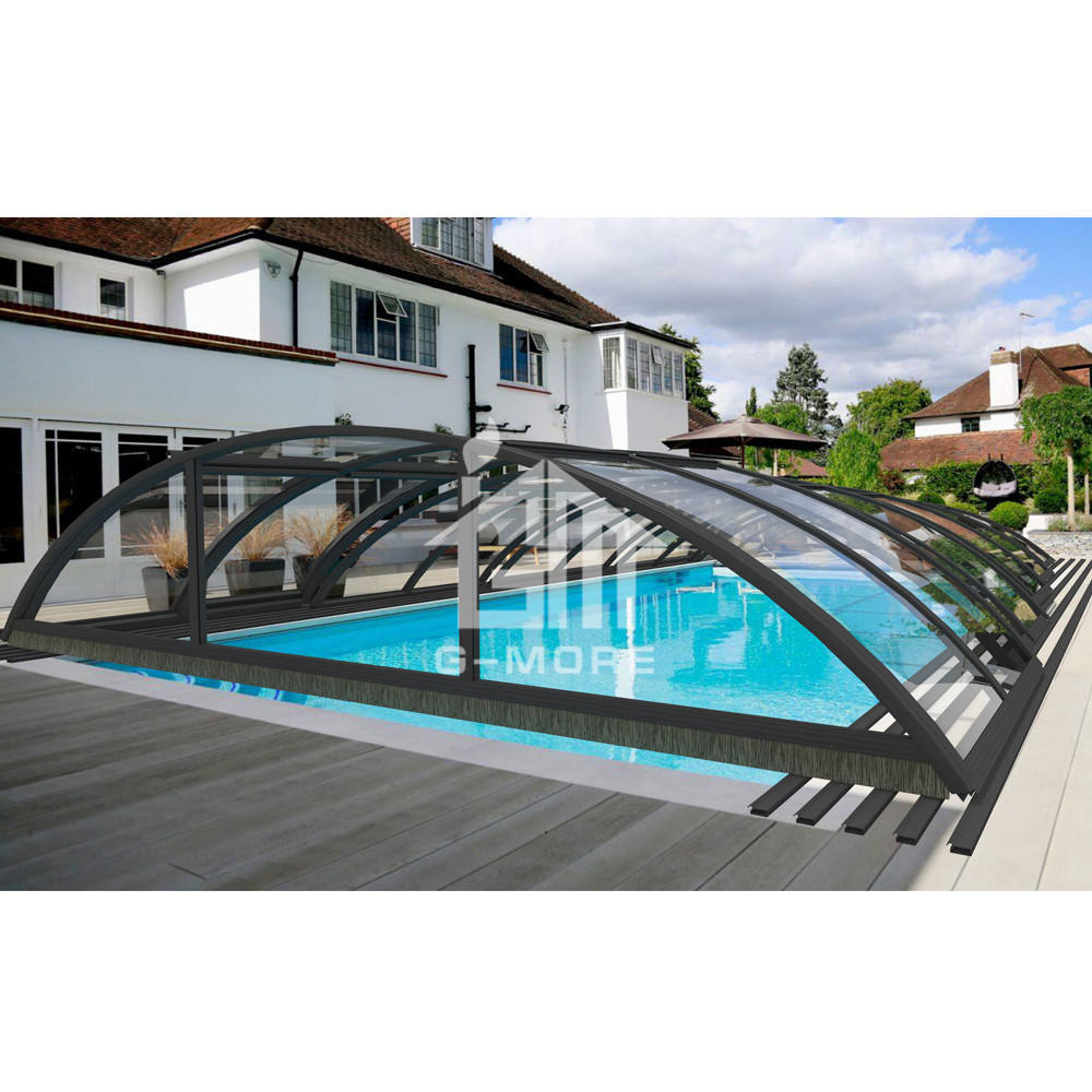 Swimming Pool Cover Factory(10'x20', Aluminum Frame,PC Cover,Retractable,Swimming Pool Enclosure)