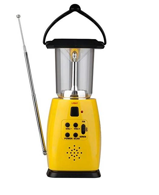 Outdoor LED Rechargeable Solar Emergency Camping Lantern With Mobile Phone Charger And FM Radio