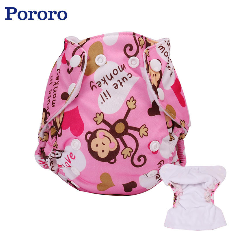Pororo pink princess nappies monkey printing newborn diapers cloth fit for 3-7.5kg Anti-leak with double gussets