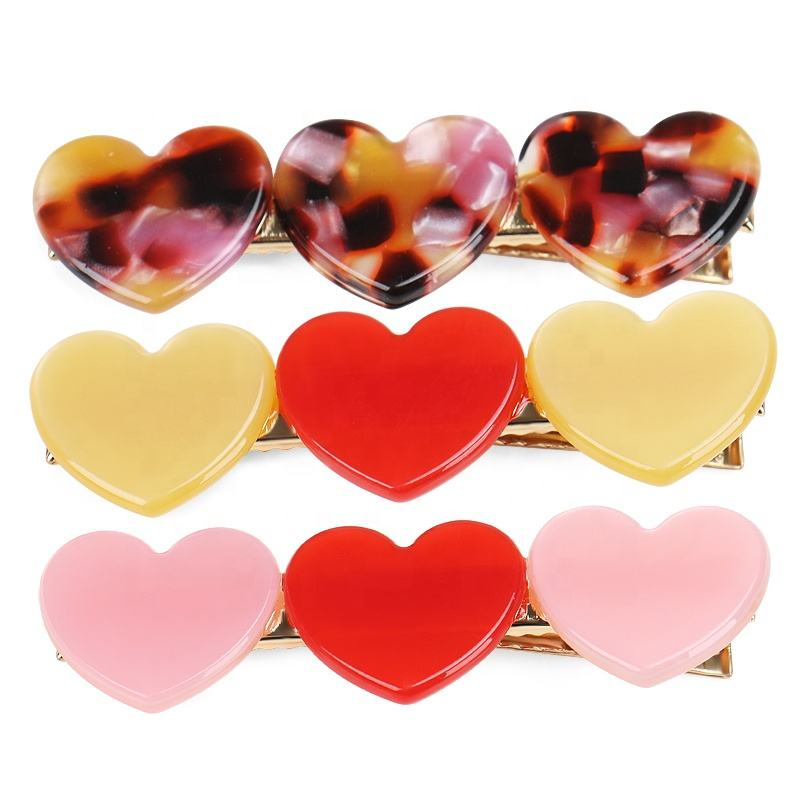 Korean Style Cellulose Acetate Heart Hair Clips Spliced Heart No-slip Alligator Clip Cute Girls Heart Hair Clips