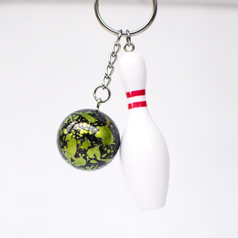 Amazon best seller 2019 wholesale personalized metal/resin fashion cute bowling key chain pendant keyring keychain
