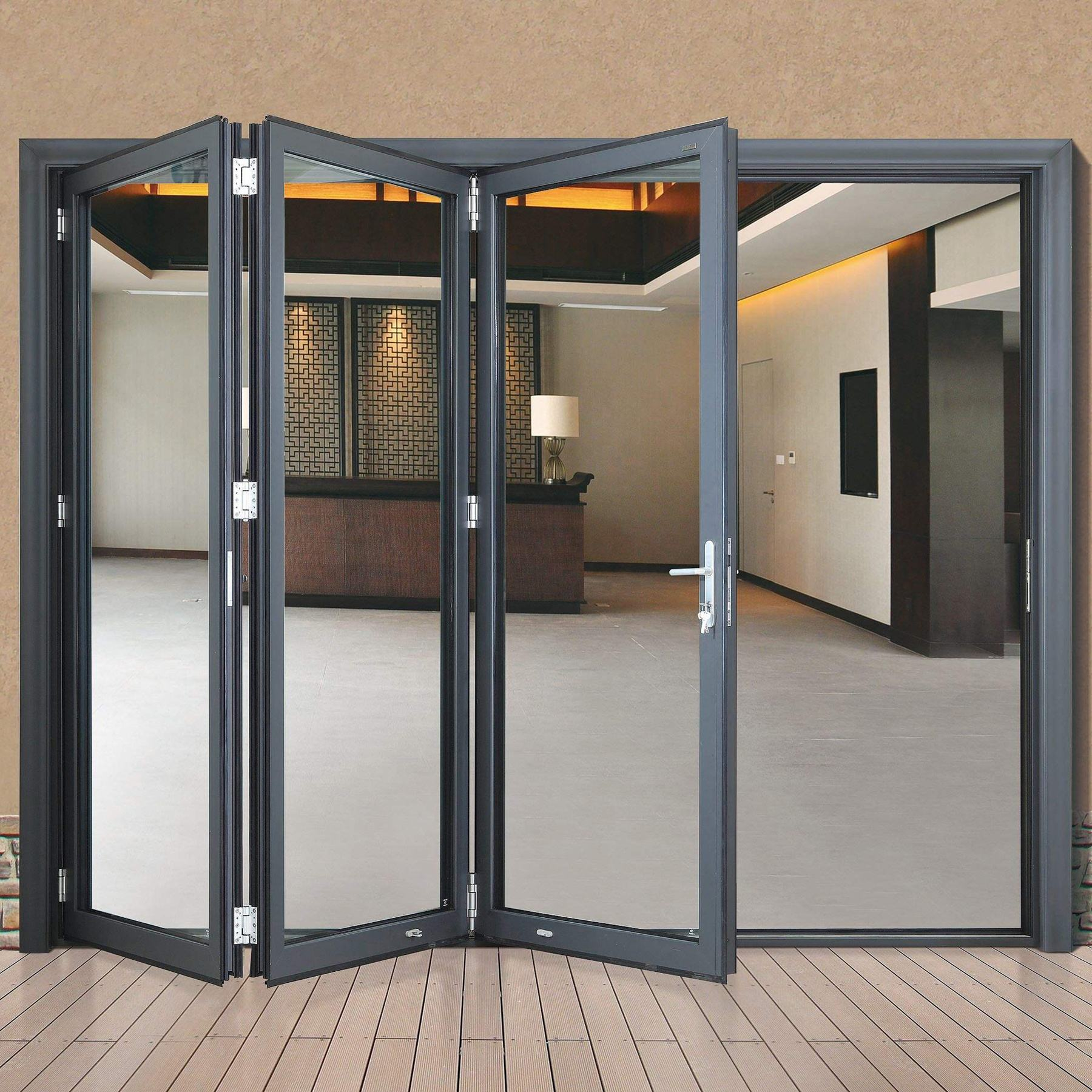 Factory price outdoor and Interior glass aluminium sliding folding doors