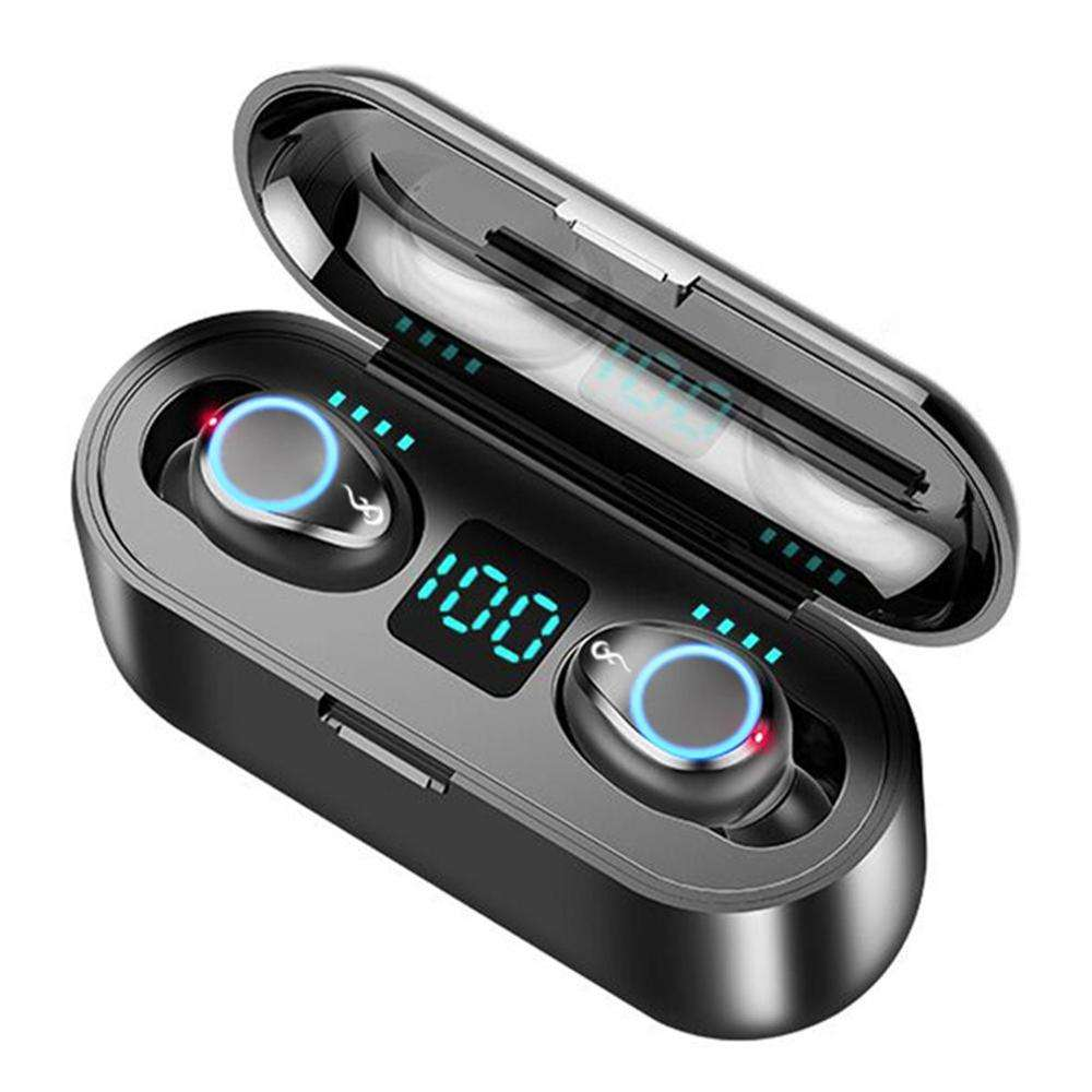 F9 TWS Breathing Light Smart Touch 8D Stereo Wireless Bluetooth Earphone 5.0 LED Display With Dual Microphone 2000 MAh Charging