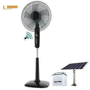 Longson OEM 2 Powered  5 Blades 16 Inch  12v Solar DC Pedestal Stand Fan Rechargeable/