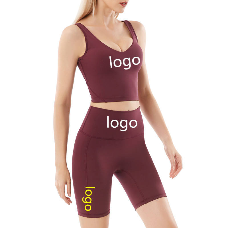 Wholesale Custom Logo Summer Women 2 Piece Short Set Outfits Crop Top Yoga And Fitness Shorts Workout Sets