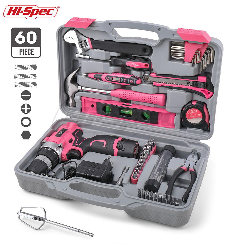 Hispec 60 Piece Women Pink Power Tool Sets Kit Electric Screwdriver with 12v Cordless Drill Li-ion Battery
