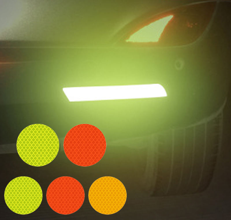 Original Factory Square/round Red/blue/orange/white/yellow Auto Safety Reflector Tape Door Bumper Stickers Car Reflection