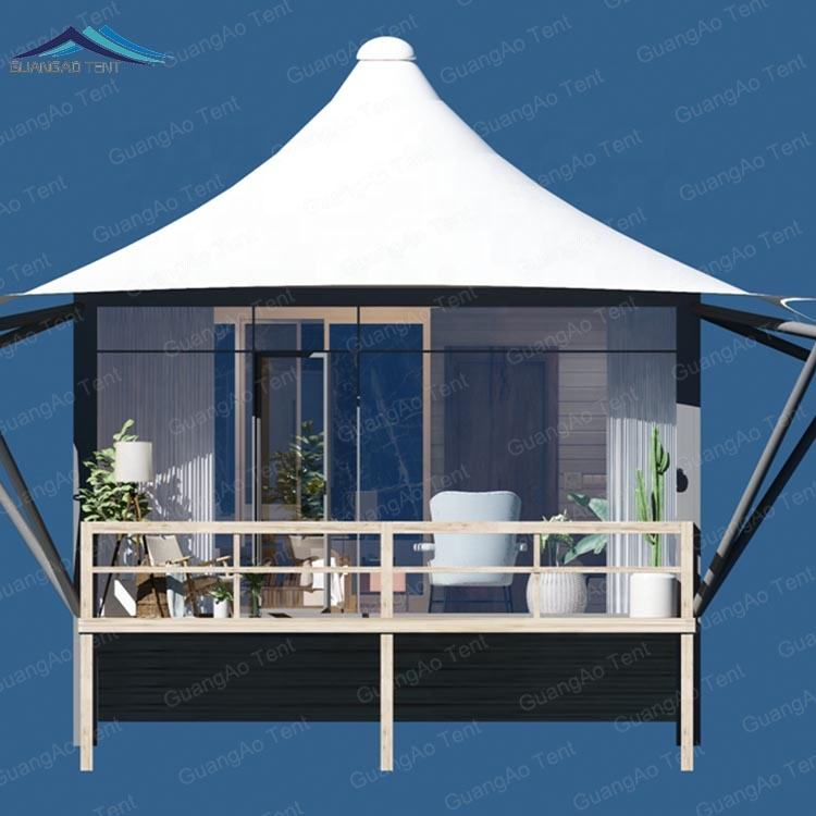 Waterproof leisure resort room hotel glamping tent assembled luxury hotel tent