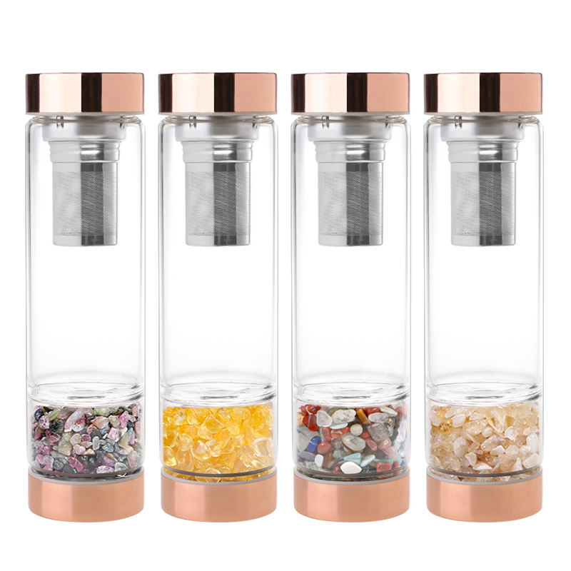 Big Factory Crystal Glass Water Bottles, Elixir Gemstone Infused Water Bottle With Rose Gold Stainless Steel Lid and Tea Straine