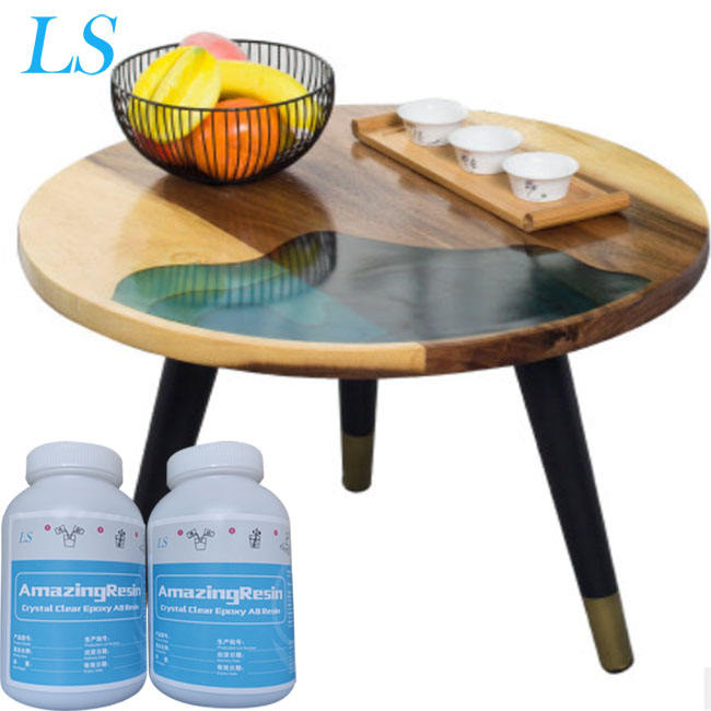 Unique Design Epoxy Resin Ocean River Solid Wood Mosaic Round Table Small Tea Table Sofa Side Coffee Table