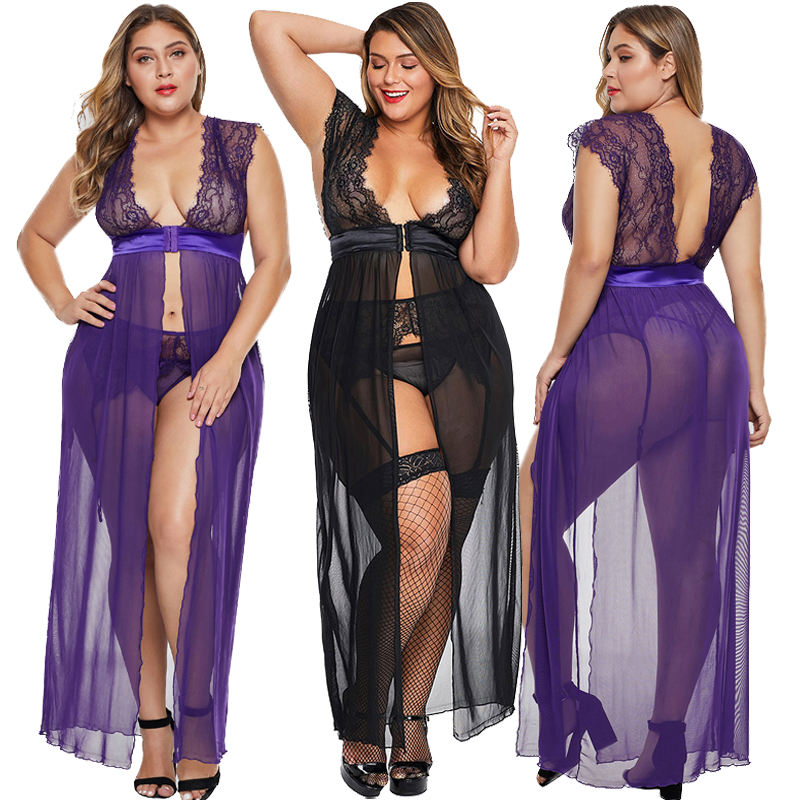 Women Black Plus Size OEM ODM Locked Away Lover Lingerie Gown