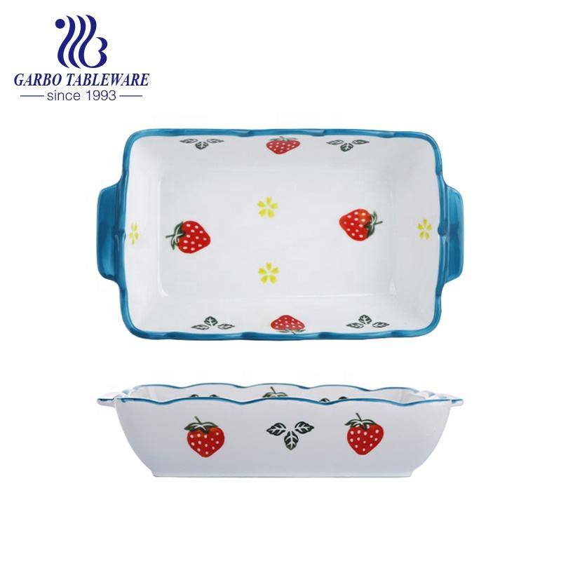 Factory cheap hand painted rectangle 10.8inch microwave oven safe porcelain baking pan deep ceramic baking dish