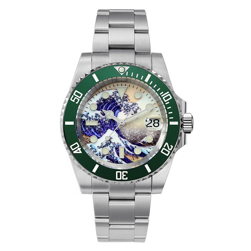 1pcs can be custom logo 20atm Solid Stainless Steel japan nh35 Automatic Mechanical Men's Sapphire Luminous Diver Watch For Sale