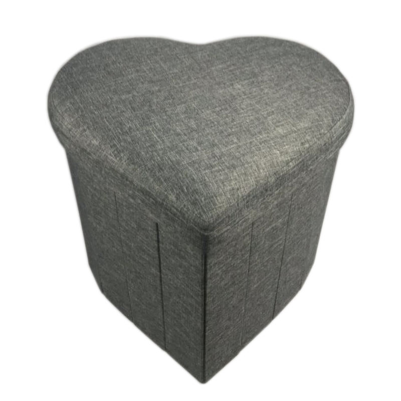 romantic heart shape ottoman linen fabric heart shaped ottoman love heart shape storage ottoman