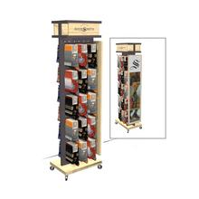popular design double sides socks display stand with hooks socks pop display cabinet with moving casters