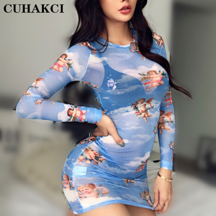 CUHAKCI Hot Sale Long Sleeve Fashion Round Neck A-line Skirt Summer Printed Mesh Woman Transparent Slim Sexy Nightclub Dress
