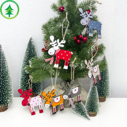 New Christmas tree pendant Christmas decorations wooden painted elk creative Christmas pendant wholesale