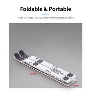 Laptop Cooling Stand With Storage Bag Silver Aluminum Alloy Adjustable 7 Speed High Riser Ergonomic Laptop Stand DJ Laptop Stand