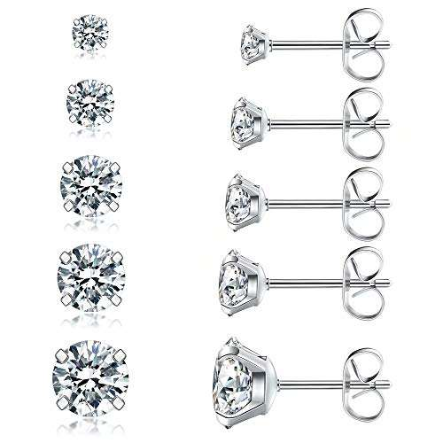 Best Selling In Amazon Fashional Stud Earrings Set, Hypoallergenic Cubic Zirconia 316L Earrings Stainless Steel Earrings