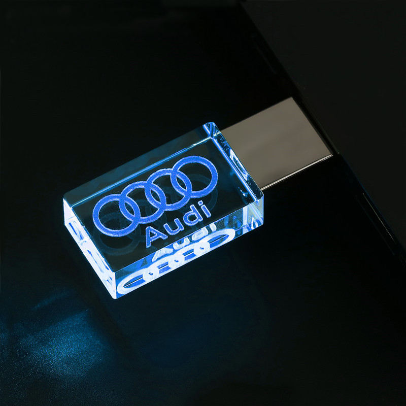 wholesale crystal usb flash drive with led light glass pendrive 1gb 2gb 4gb 8gb 16gb 32gb 64gb