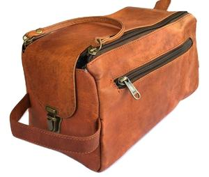 custom mens leather travel toiletry bag cosmetic bag wash bag